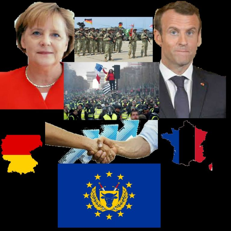 Macron And Merkel Booed By Protesters As They Sign 'European Army Treaty'