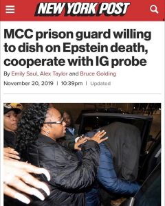 Manhattan Prison Guard is Willing to Cooperate with a Federal Investigation into Jeffrey Epstein's Death