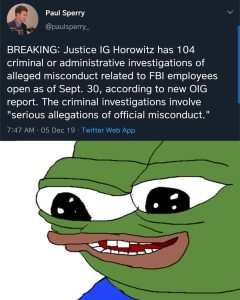 Justice IG Horowitz Cites 104 Criminal or Admin. Investigations Related to FBI Employees