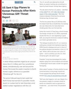 North Korea Christmas Threat Forces US To Send 4 Spy Planes To Patrol
