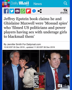 """Jeffrey Epstein Book Claims He and Ghislaine Maxwell were """"Mossab spies"""" who """"Filmed US Politicians and Power Player Having Sex with Underage Girls to Blackmail Them"""""""