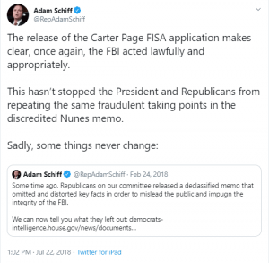 """FLASHBACK: Adam Schiff """"the FBI acted lawfully and appropriately"""" Jun. 22, 2018"""