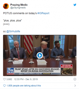 POTUS COMMENTS on IG REPORT (+++)