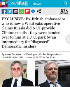 EXCLUSIVE: Ex-British ambassador who Is now a WikiLeaks operative claims Russia did NOT provide Clinton emails – they were handed over to him at a D.C. park by an intermediary for 'disgusted' Democratic insiders