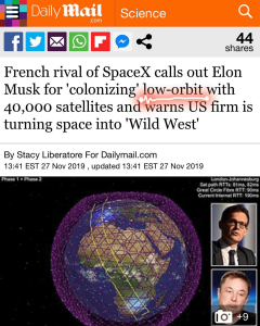 "French Rival of SpaceX Calls Out Elon Musk for ""Colonizing"" Low-Orbit with 40,000 Satellites and Warns U.S. Firm is Turning Space into ""Wild West"""