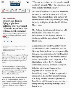 Mysterious Drones Flying Nighttime Patterns Over Northeast Colorado Leaving Local Law Enforcement Stumped