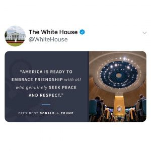 Read more about the article AMERICA IS READY TO EMBRACE FRIENDSHIP with all who genuinely SEEK PEACE AND RE…