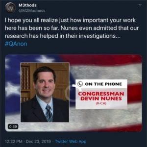 "Devin Nunes: Q Researchers ""really helped out our investigation."""