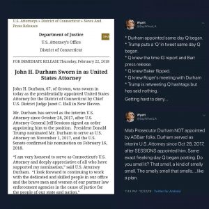 US Attorney John Durham Appointed The Day Qanon Begin