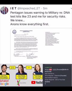 Civilians Listen Up – Pentagon Issued a WARNING to Military Re: DNA Test Kits (Like 23AndMe)  for Security Risks (China Data Harvesting Through Big Tech)