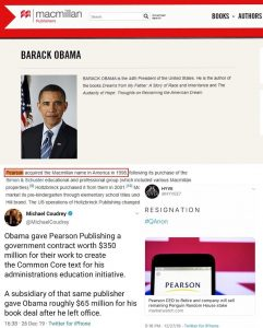 Fun fact: Both Flatiron and Celadon (Biden/Comey/Brennan book deals) are connected to Macmillan (owned by Pearson), which has Obama listed as an Author.