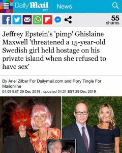 Jeffrey Epstein's 'pimp' Ghislaine Maxwell 'threatened a 15-year-old Swedish girl held hostage on his private island when she refused to have sex'