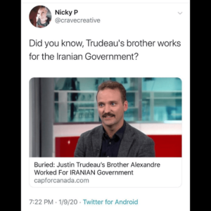 Buried: Justin Trudeau's Brother Alexandre Worked For IRANIAN Government