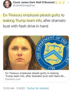 Ex-Treasury employee pleads guilty to leaking Trump team info, after dramatic bust with flash drive in hand