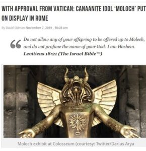 """The pagan god Moloch has been erected at the entrance to the Colosseum, which i…"