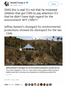 It's Not Epstein's Molestation Of Children That Got CNN to Pay Attention, Instead It Was That He Didn't Have High Regard For The Environment