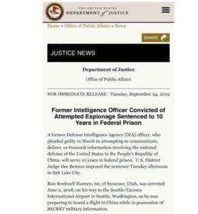 "BREAKING: DOJ, ""Former Intelligence Officer Convicted of Attempted Espionage Sen…"