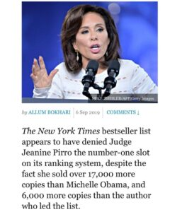 The @nytimes bestseller list denied @judge_jeanine the number-one slot on its ra…