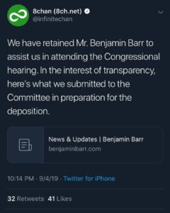 Read more about the article BREAKING:  For updates for 8Chan congressional testimony …
