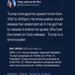 Trump Tricks Pelosi By Getting Her To Release Her Auto Statement By Changing His Speech Time