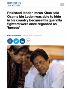 Pakistani leader Imran Khan said Osama bin Laden was able to hide in his country because his guerrilla fighters were once regarded as 'heroes'