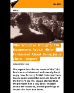 CIA Documents Revel Hitler Fantasized About Being Jesus Christ