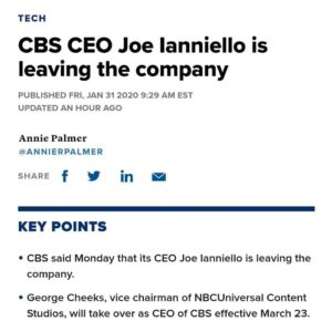 CBS CEO Joe lanniello is leaving the company