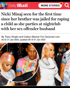 Nicki Minaj seen for the first time since her brother was jailed for raping a child as she parties at nightclub with her sex offender husband