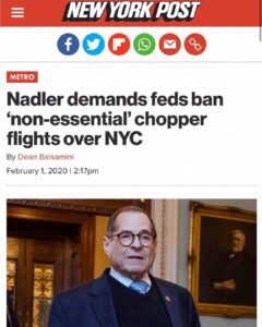 "Nadler Demands Feds Ban ""Non-Essential"" Choppper Flights Over NYC"