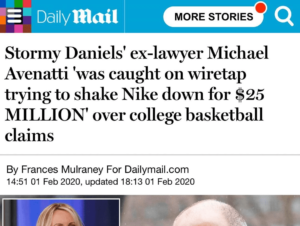 Stormy Daniels' ex-lawyer Michael Avenatti 'was caught on wiretap trying to shake Nike down for $25 MILLION' over college basketball claims