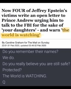 """Now Four Of Jeffrey Epstein's Victems Write An Open Letter To Prince Andrew Urging Him To Talk To The FBI For The Sake Of """"your daughters"""" – And Warns """"the world is watching"""""""
