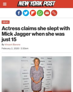 Actress Claims She Slept With Mick Jagger When She Was Just 15