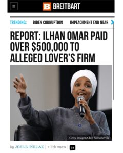 ILHAN OMAR PAID OVER $500,000 TO ALLEGED LOVER'S FIRM