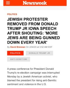 """Jewish Protester Removed From Donald Trump Jr Iowa Speech After Shouting """"More Jews Are Being Gunned Down every Year"""