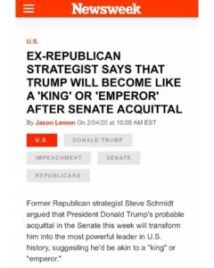 """Ex-Republican Strategist Says That Trump Will Become Like A """"King"""" Or """"Emperor"""" After Senate Acquittal"""