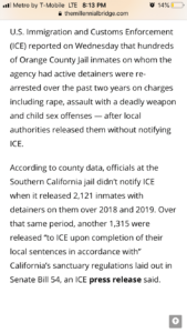 ICE: Hundreds of illegal aliens charged with rape, other crimes after release from Southern California jail