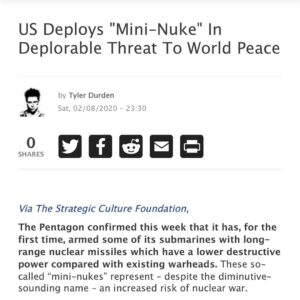 "US Deploys""Mini-Nuke"" In Deplorable Threat To World Peace"