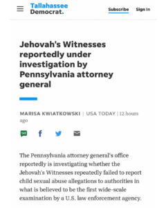 Jehovah's Witnesses Reportedly Under Investigation By Pennsylvania Attorney General