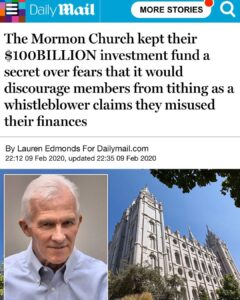 The Mormon Church Kept Their $100 Billion Investment Fund A Secret Over Fears That It Would Discourage Members From Tithing As A Whistleblower Claims They Misused Their Finances