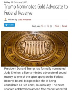 Trump Nominates Gold Advocate To Federal Reserve