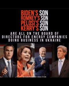 BIDEN'S SON ROMNEY'S SON PELOSI'S SON KERRY'S SON ARE ALL ON THE BOARD OF DIRECTORS FOR ENERGY COMPANIES DOING BUSINESS IN UKRAINE