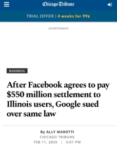 After Facebook agrees to pay $550 million settlement to Illinois users, Google sued over same law