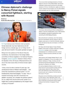 Chinese Diplomat's Challenge To Nancy Pelosi Signals Concerted Fightback, Starting With Huawei
