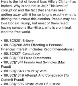 Here is the list of federal laws Hillary Clinton has broken. Why is she not in J…