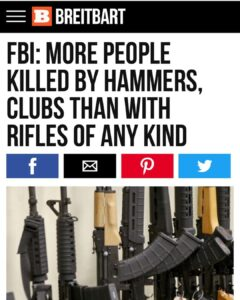 FBI crime statistics for 2017 show that more people were killed in the US with c…