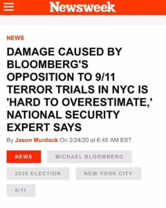 """Damage Caused By Bloomberg's Opposition To 9/11 Terror Trials In NYC Is """"Hard To Overestimate,"""" National Security Expert Says"""