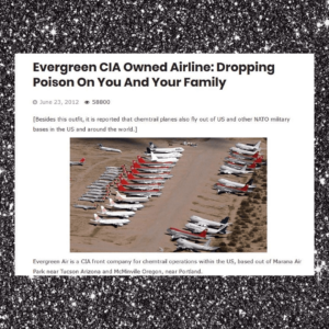 Chemtrails Exposed As Evergreen, A CIA Owned Airline, Declared Toxic