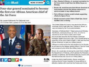 Four-star general nominated to become the first ever African American chief of the Air Force