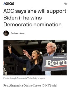 AOC says she will support Biden if he wins Democratic nomination