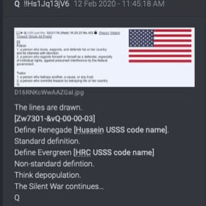 Define Renegade [Hussein USSS code name], Define Evergreen [HRC USSS code name]